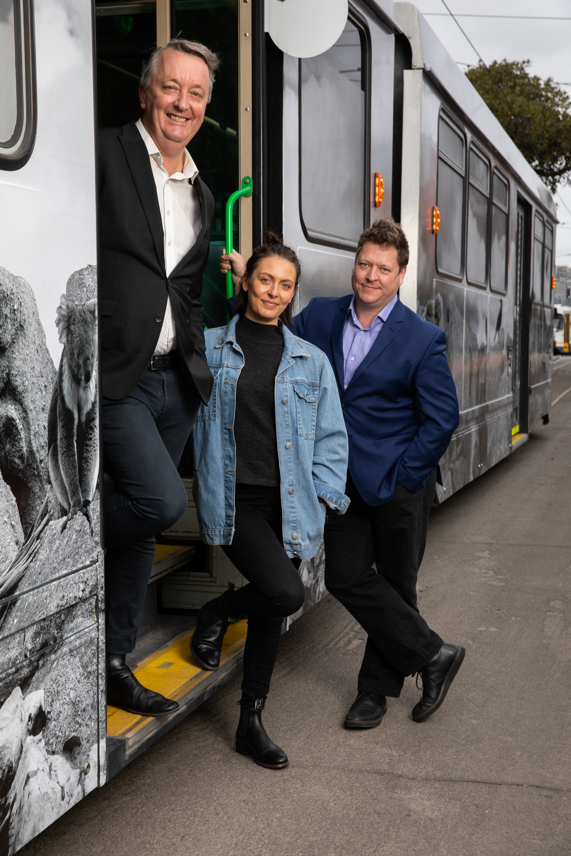 Hayley Millar-Baker pictured with Martin Foley MP and Jonathan Holloway at the Melb Art Tram launch, Credit: Supplied.