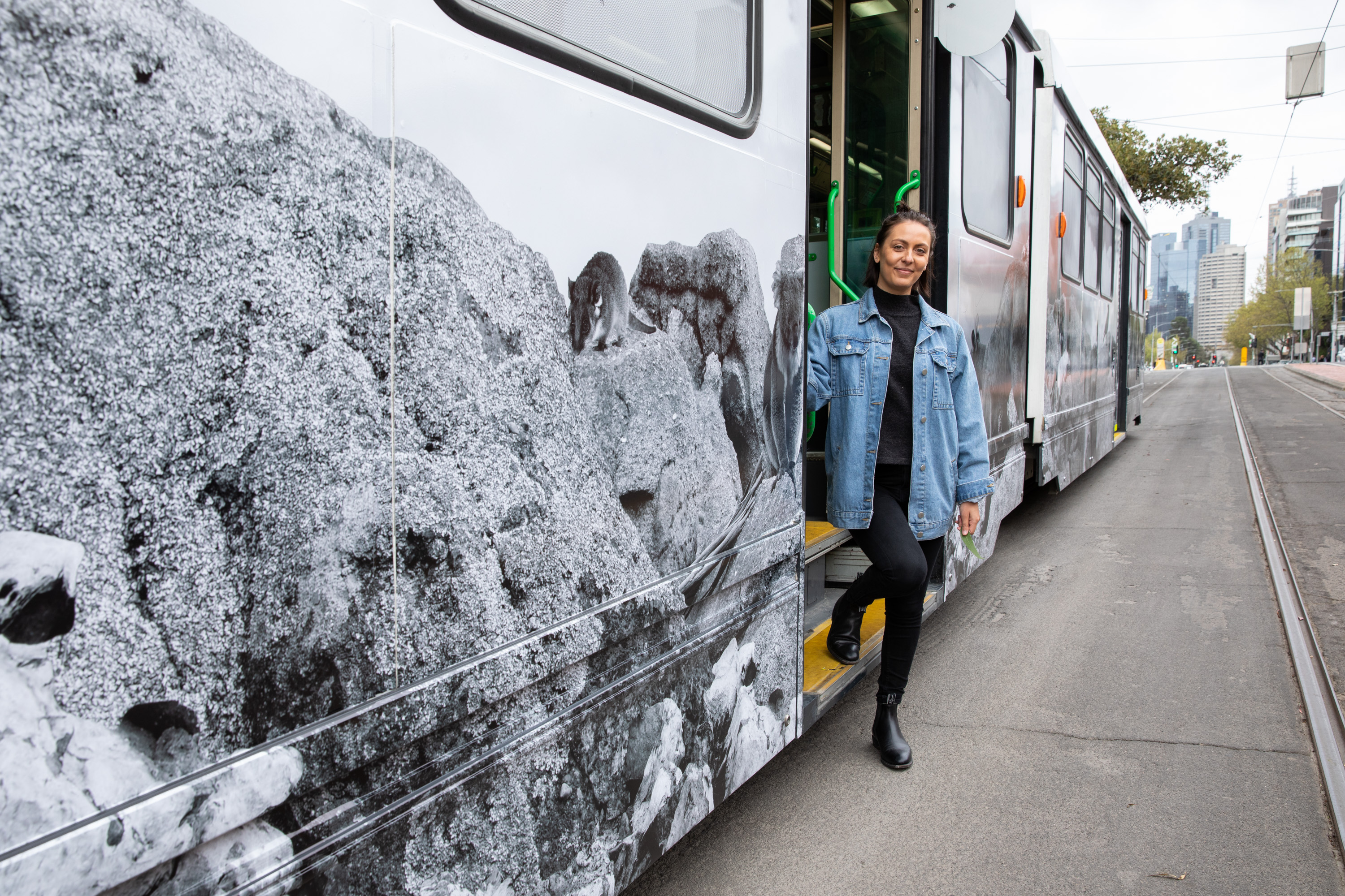 Hayley Millar-Baker pictured in front of her Melbourne Art Tram, Credit: Supplied.