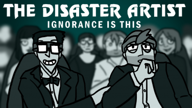 An illustration of the movie poster advertising 'The Disaster Artist', featuring podcasting co-hosts Scott Martin and Oliver Dear.