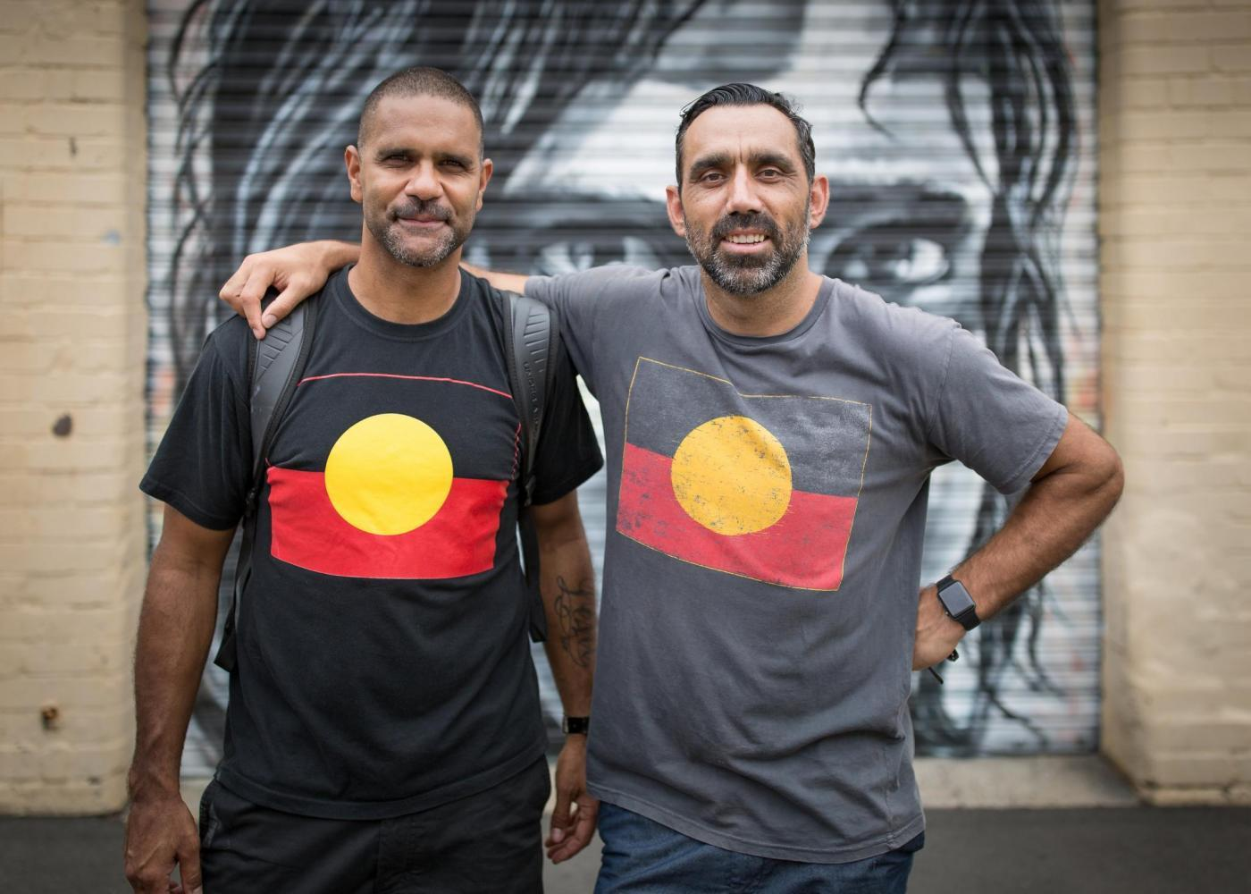 Adam Goodes (right) with former teammate Michael O'Loughlin