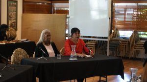 L to R: Mary Aiken & Emily Carter from Marninwarntikura Women's Resource Centre (PHOTO: Dylan Storer)