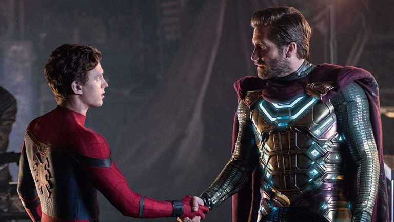 "Peter Parker (Tom Holland) shakes hands with Quentin Beck (Jake Gyllenhaal) in ""Spider-Man: Far From Home"""