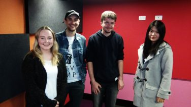 Alice Fairweather, Sean Roberts, Charlie Montgomery and Aurora Wang in the SYN studios