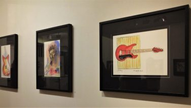 Examples of Jim Keays' work on display in an art gallery.