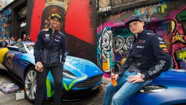 Daniel Ricciardo and Max Verstappen at Hosier lane.