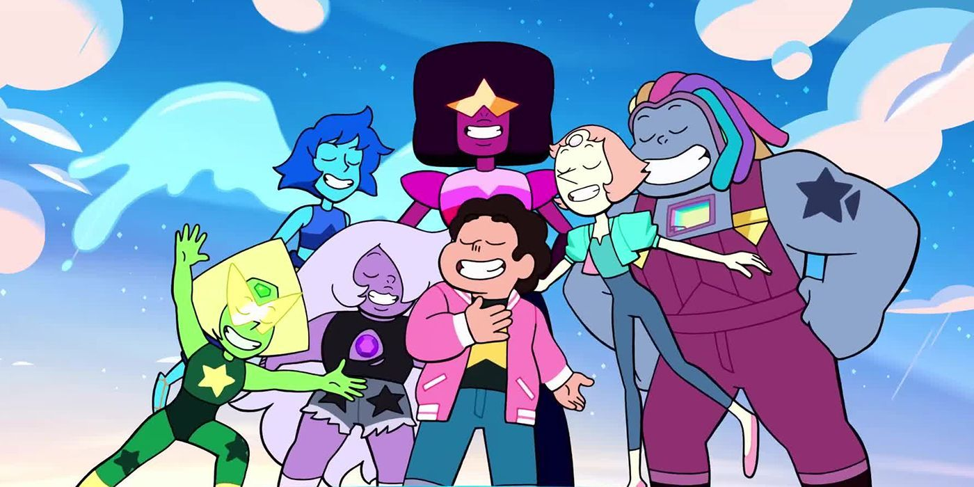 Steven Universe and his family singing in the opening of Steven Universe: Future.