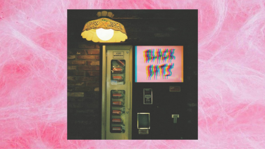 black bats album on fairy floss background