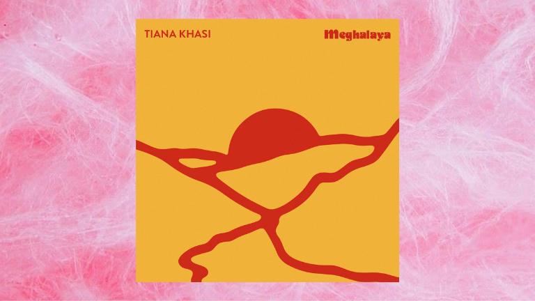 Tiana Khasi's 'Meghalaya' cover art on fairy floss background
