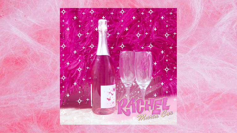 Rachel Maria Cox album art on fairy floss background