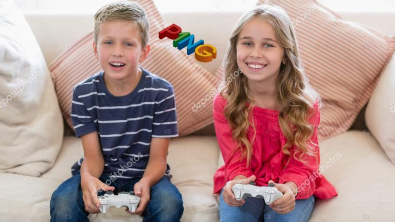 Portrait of smiling siblings playing video games in living room at home
