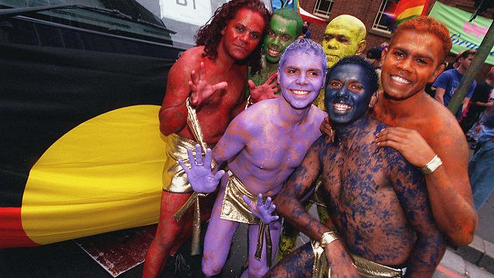 (Original Caption) The Aboriginal homosexual community joined in the celebration. (Photo by John van Hasselt/Sygma via Getty Images)
