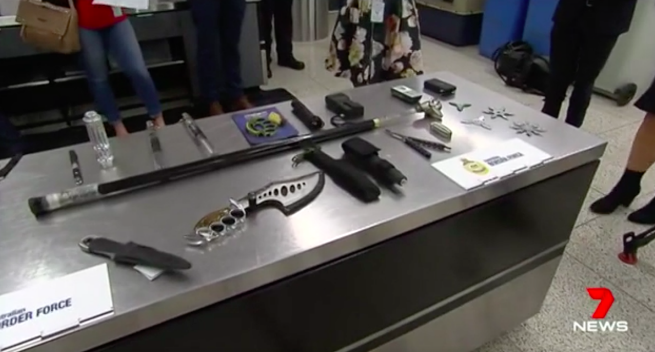 Some of the restricted items seized from schoolies, Credit: Seven News.