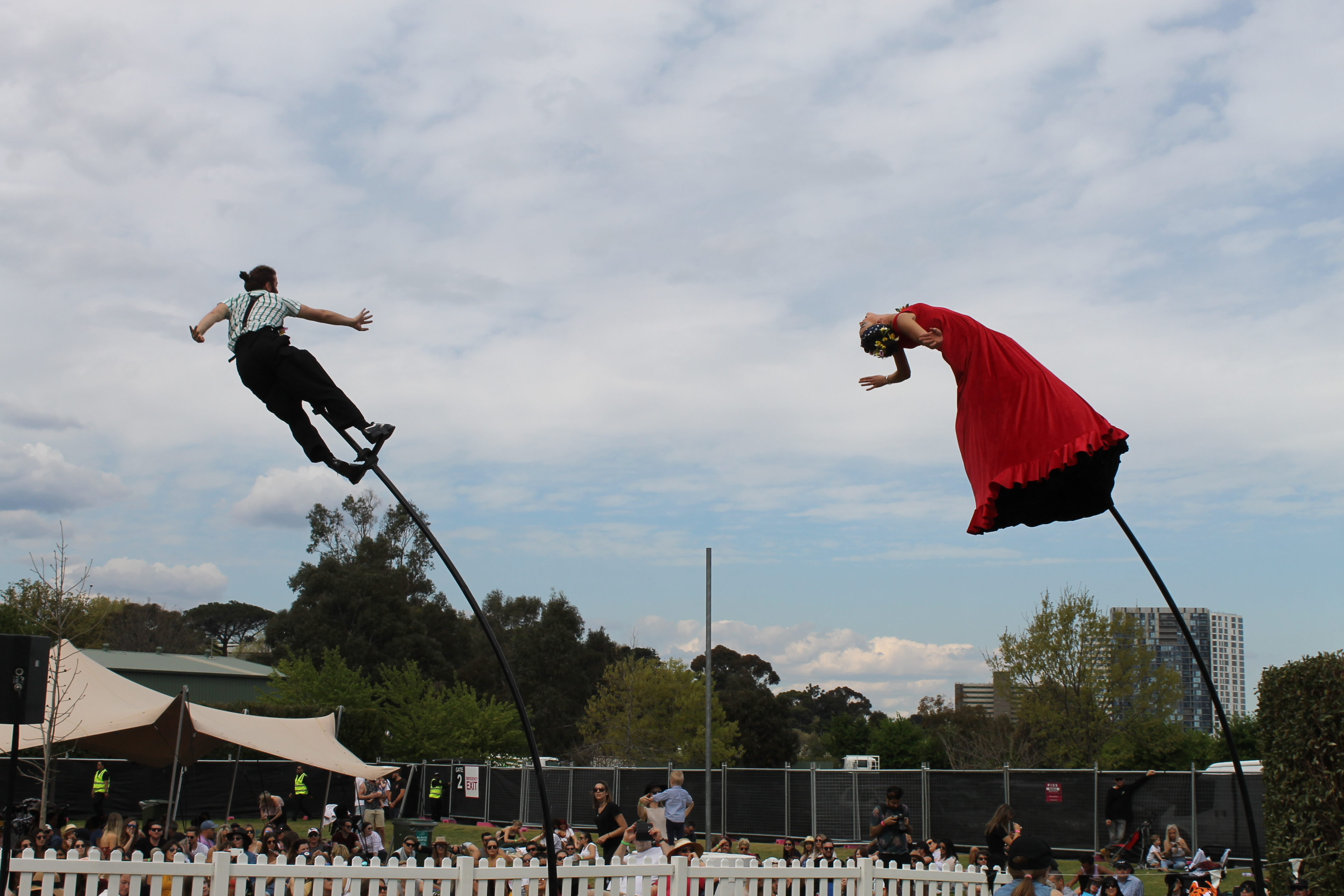 Performers on stilts at Lost Picnic 2018