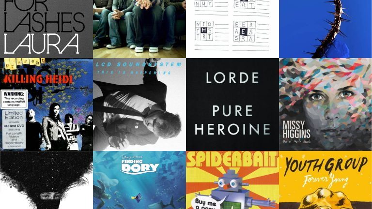A series of album covers, arranged in a 3x4 grid formation, corresponding with the playlist of this episode, all about musical firsts