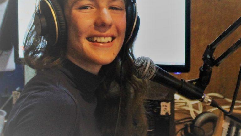 Amber Kelleher in the 2BOB Radio studio, Taree