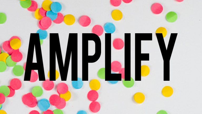 The Amplify logo, with black lettering on a colourful confetti background
