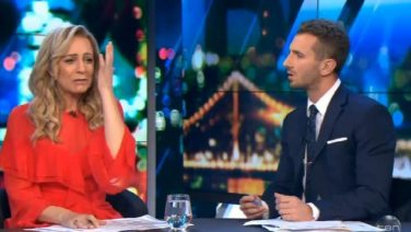 Carrie Bickmore breaks down on The Project, Credit: The Project, Channel Ten.