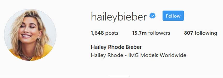 Hailey Baldwin has changed her Insta name to 'Hailey Bieber', Credit: Instagram.