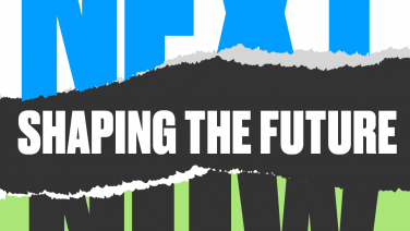 A logo in bold font. It reads Next - Shaping the Future - Now. The logo mimics torn paper from a notebook.