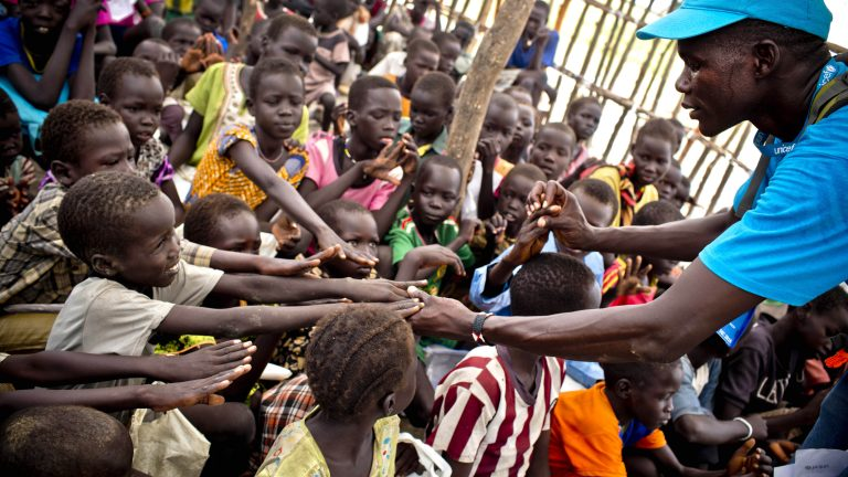 On 20 October 2016, Children learn how to wash their hands properly by UNICEF staff in the town of  Kuach Unity State, South Sudan. UNICEF is assessing currenty hygeine facilities in remote health facilities that they can access because there have been several confirmed cases of cholera in the region and because of renewed fighting humanitarian access is difficult.