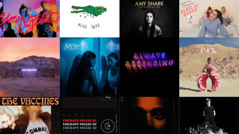 A series of album covers, arranged in a 3x4 grid formation, corresponding with the playlist of this episode