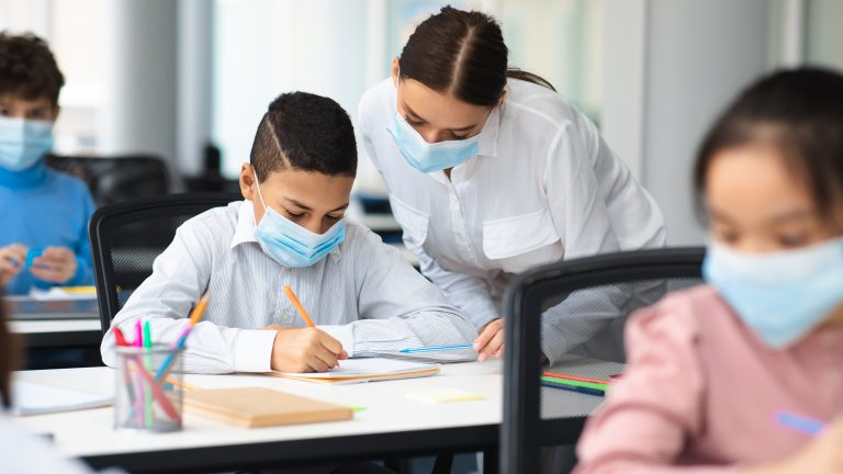 Education,,Junior,School,,Guidance,Concept.,Female,Teacher,In,Protective,Face